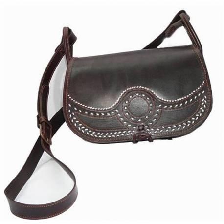 Bolso bandolera en cuero. oscuro. hecho a mano. moda clásica. comprar. serie limitada
