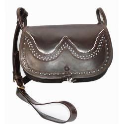 Bolsa de ombro em couro escuro. com o bolso. feito à mão. Moda clássica. Dom. série exclusiva