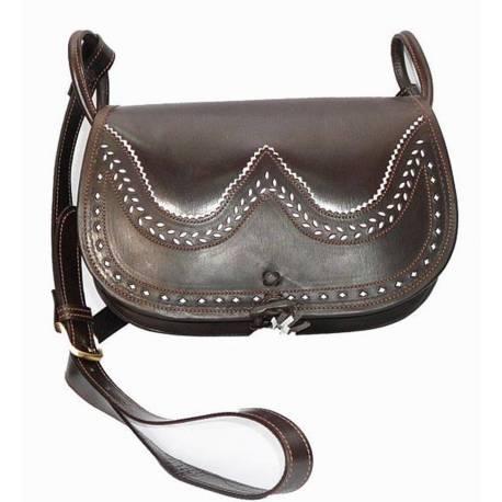 Bolso bandolera en cuero oscuro. con bolsillo. hecho a mano. moda clásica. regalo. serie exclusiva