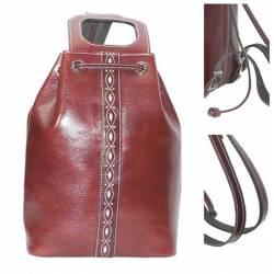 Grand sac à dos en cuir en cuir sombre. à la main. mode vintage. cadeau. série limitée
