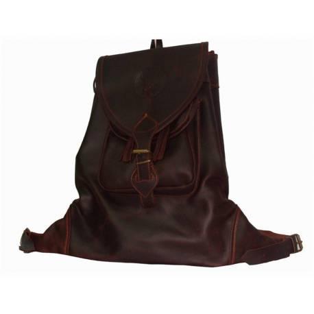 Mochila. Bolsa de couro escuro. feito à mão. clássico de caça. Dom. série exclusiva