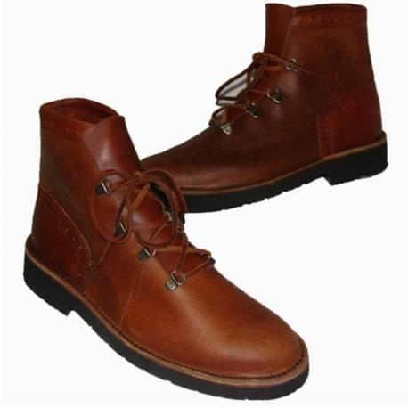 tornozelo botas com atacadores. em couro. clássicos. feito à mão. projeto vintage. exclusivo