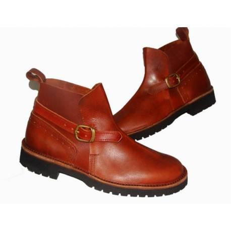 botas de tornozelo com fivela. couro. feito à mão. projeto vintage. exclusividade