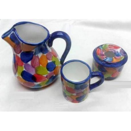 Jarra. cenicero. taza de cerámica artesanal. arcoiris. hecho a mano