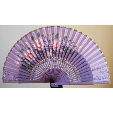 Spanish hand fan with certificate. Painted and crafted, intense lilac