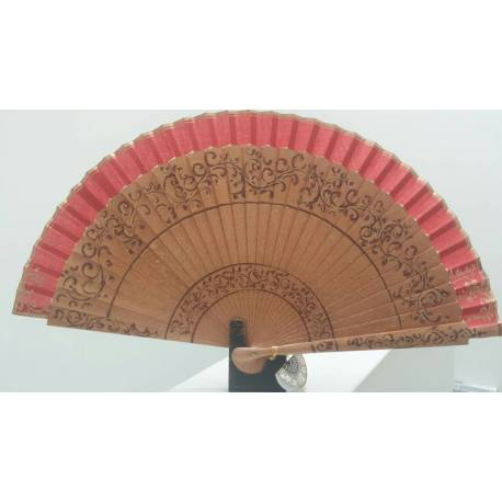 Spanish hand fan with certificate. Painted and handmade, natural .red