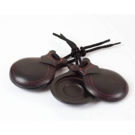 Castañuelas fibra negra roja. hecho a mano. comprar madrid. doble caja resonancia