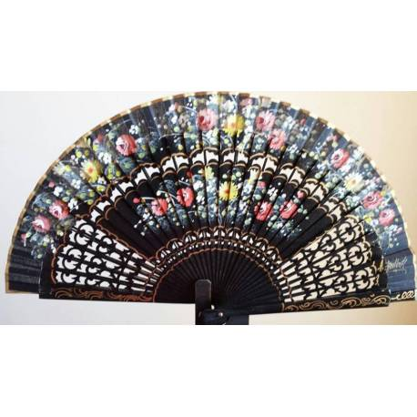 Spanish hand fan with certificate. Handmade painted and gold