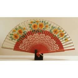 Spanish hand fan orange certificate. Painted and handmade, dark ivory