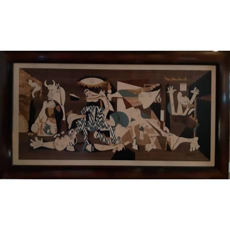 Quadro em marchetaria de madeira. Guernica de Picasso