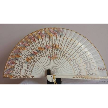 Spanish hand fan with certificate. Painted and handmade olive