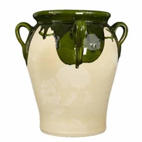 Tinaja de ceramica artesanal con tapa. hecho a mano. barro. madrid