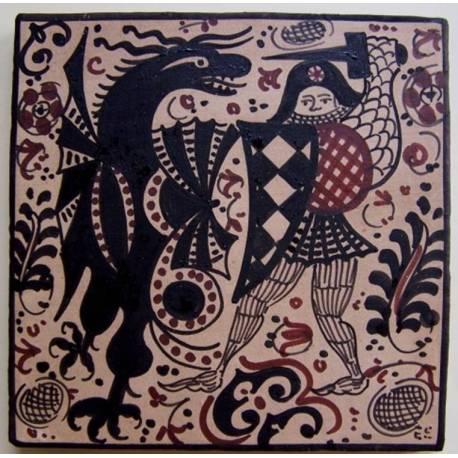 Socarrat adornado de un guerrero en plena batalla con un dragón.