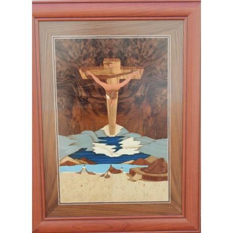 quadro em marchetaria de madeira. Cristo de Dali