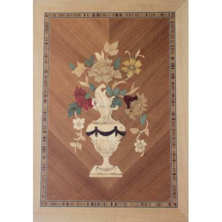 Quadri arte intarsio legno. Vasi