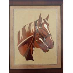 Quadri arte intarsio legno. Cavalli